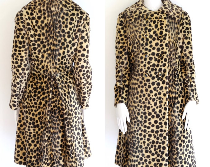 50s vintage leopard print faux fur princess coat large / vintage Safari La France cheetah plush fur flared coat 1960s 50s size L