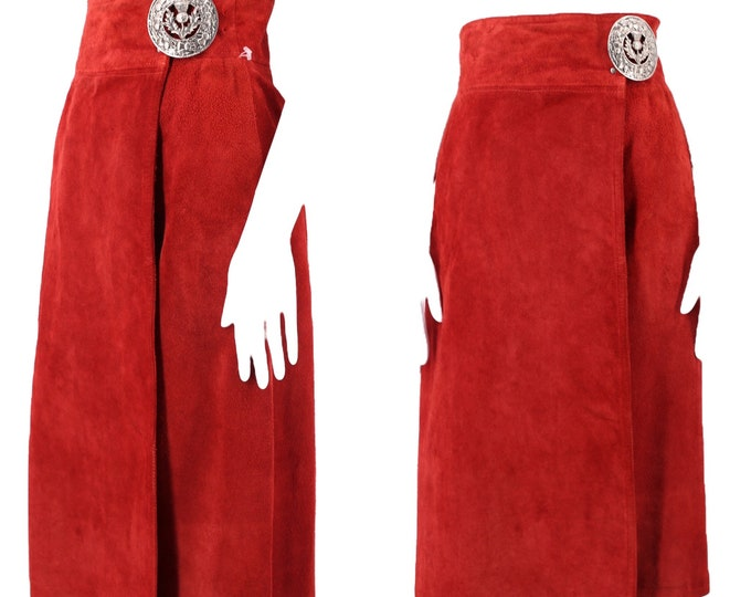 70s ANNE KLEIN crimson suede wrap skirt / vintage 1970s Metal thistle buckle A line skirt sz M 6-8