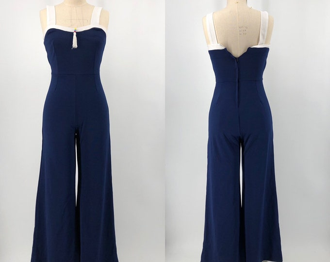 70s JUMPSUIT in navy blue poly knit with sexy tight fit and tassel vintage 1970s
