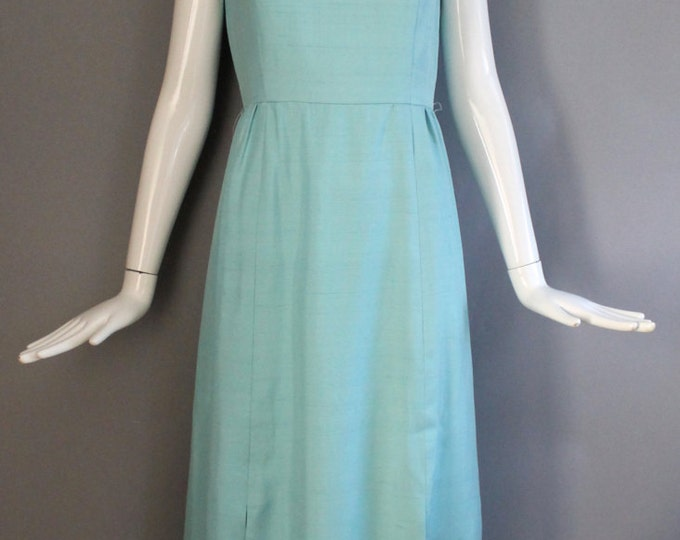 60s GEOFFREY BEENE slubbed silk robins egg blue tailored button shift GOWN evening dress vintage designer 1960s