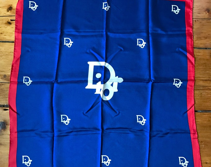 70s CHRISTIAN DIOR navy red white silk HUGE logo scarf silk vintage 1970s italy france 27 x 26