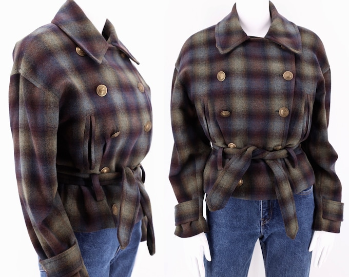 90s grunge plaid wool bomber jacket 6 / vintage 1990s belted fall slouchy jacket coat