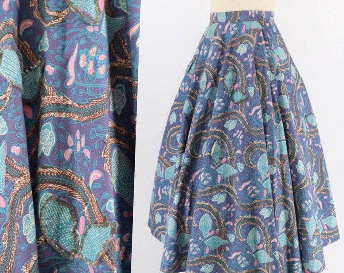 50s BOTANICAL BATIK print circle skirt