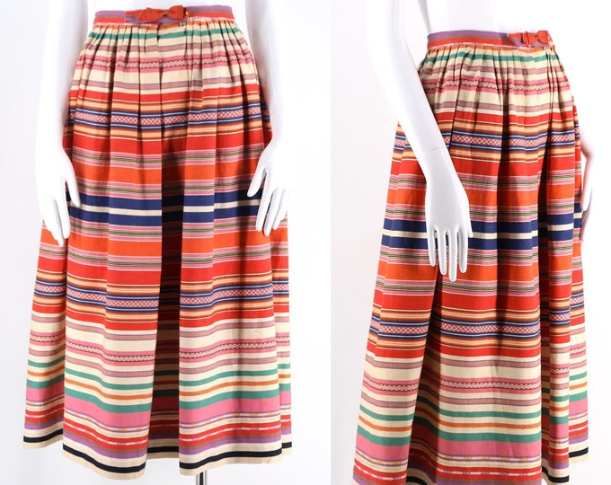 40s Bergdorf Goodman ethnic textile skirt / vintage 1940s early 50s woven striped summer sportswear skirt 24""