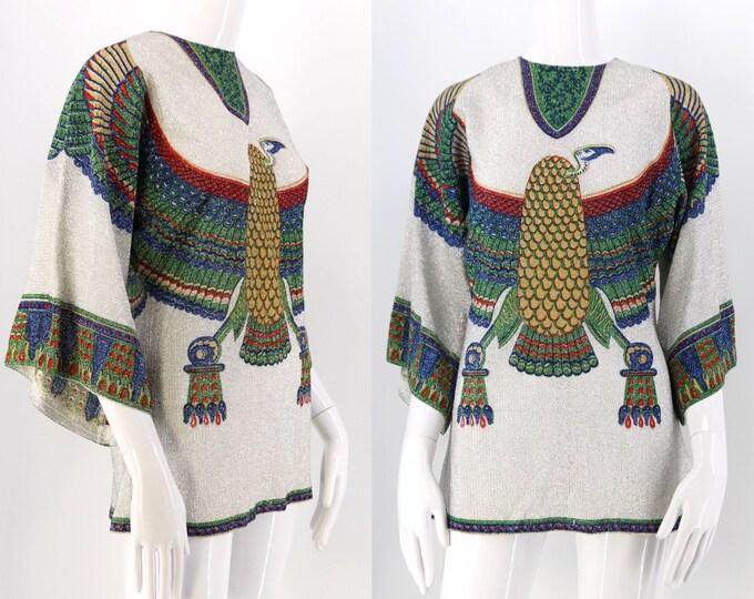 60s silver lurex CONDOR bird print bell sleeve tunic top / vintage 1960s falcon eagle blouse size M - L