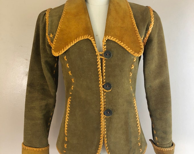 70s whip stitched suede jacket / vintage 1970s Woodstock era hippy jacket w/ spread collar sz 8