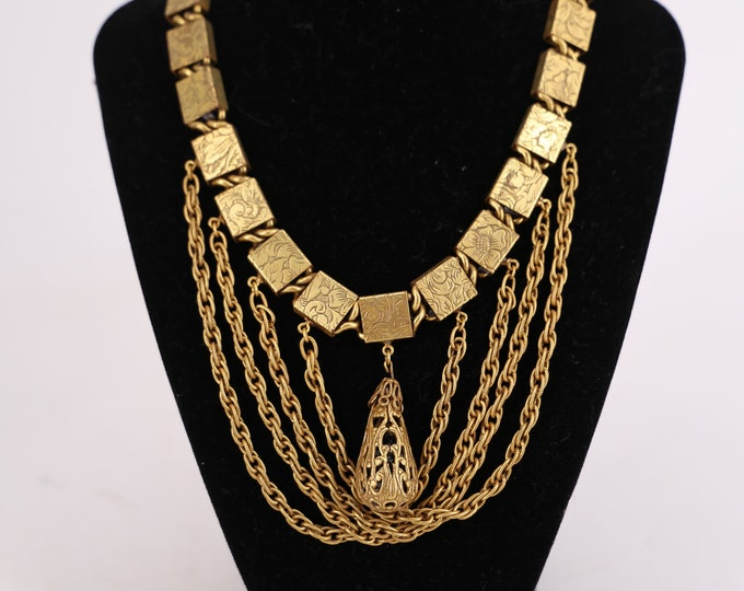 40s gold brass layered chains choker necklace / vintage 1940s statement necklace jewelry