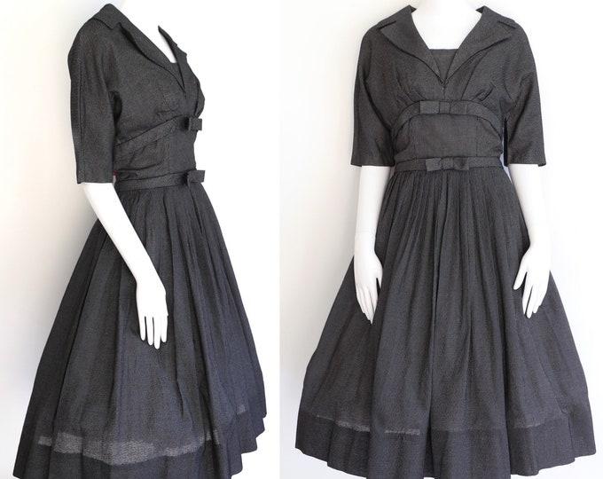 """1950s vintage SUZY PERETTE black cotton check tea dress circle skirt 50s 29"""" W"""