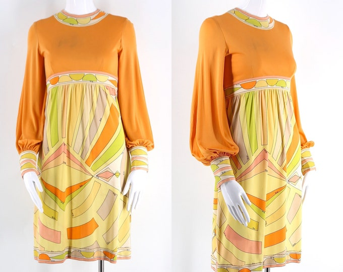60s Emilio Pucci silk jersey dress / vintage psychedelic print peasant sleeve mini dress tangerine & yellow 1960s size 10 / S-M  As Is