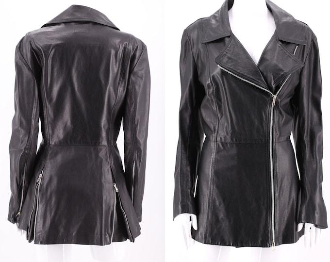 90s Norma Kamali Omo black leather jacket sz 8 / vintage 1990s soft tailored leather zipper flare back jacket coat M-L