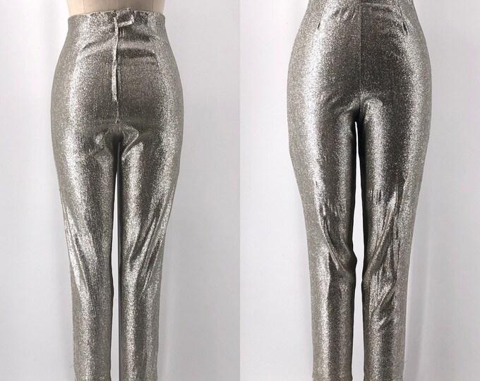 50s METALLIC SILVER lurex stretch pin up skin tight capri pants vintage 1950s