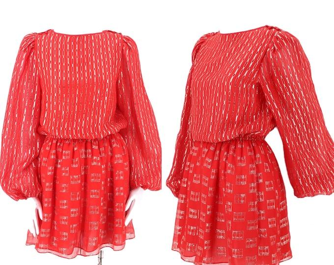 70s red metallic lurex mini dress M  / vintage 1970s FINE FEATHERS peasant sleeve disco dress medium