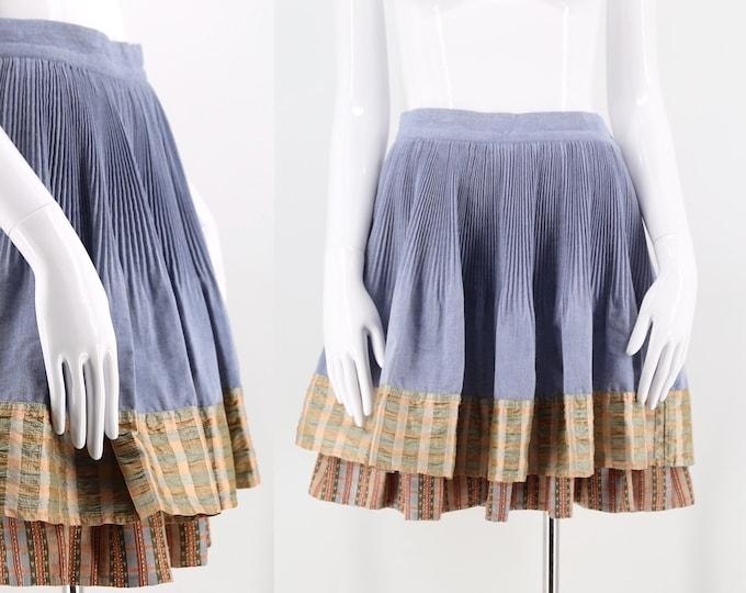 90s Christian Lacroix chambray & taffeta pin tucked skirt / vintage 1990s mini skirt w/ chintz trim. size 42 / 10