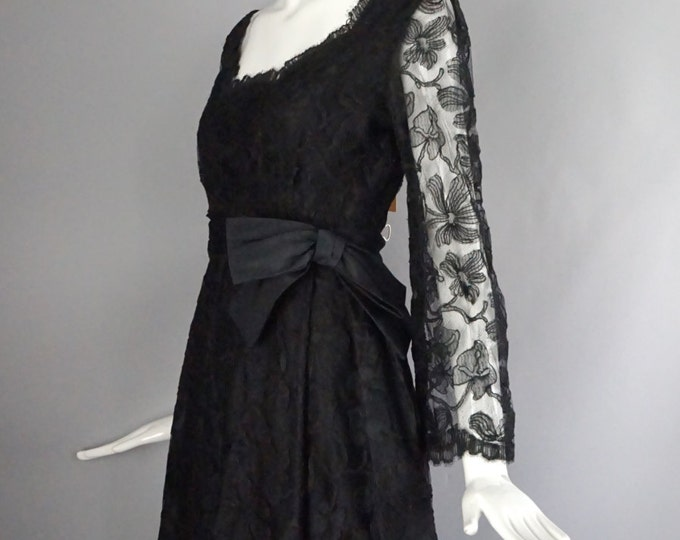 60s CHESTER WEINBERG  little black lace high waisted bow DRESS party cocktail vintage 1960s 6
