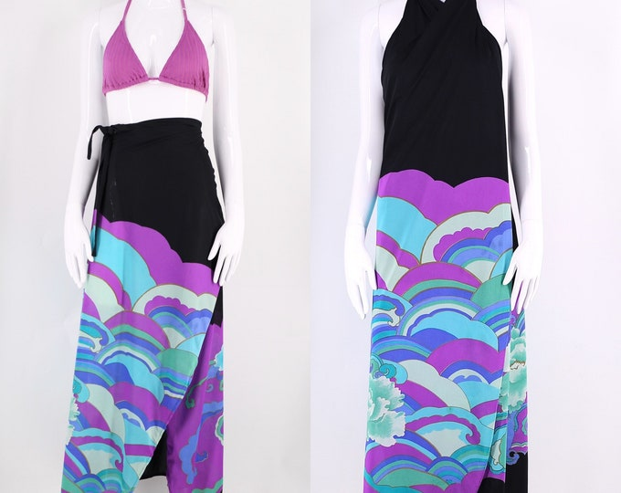 70s Rose Marie Reid Deco wave print sarong skirt / vintage 1970s nylon beach pool cover up wrap skirt halter dress M-L