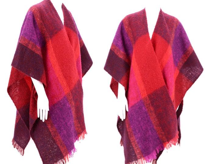 80s Plaid Mohair bold wrap shawl  / vintage 1980s fuchsia orange purple  wool winter scarf shawl