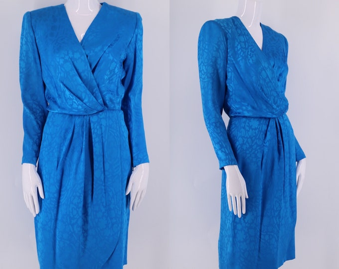 80s GIVENCHY silk print teal draped dress sz 40 /10  / vintage 1980s designer tailored strong shoulder dress w/ org tags