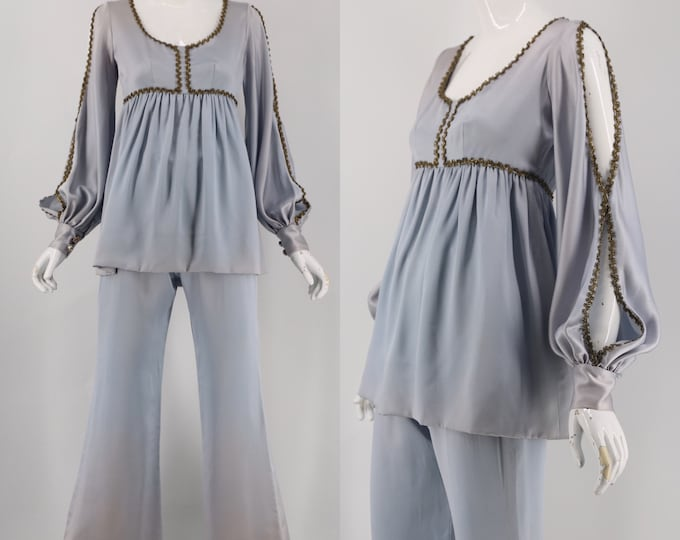 60s satin Candy Happening ice blue baby doll 2 pc set
