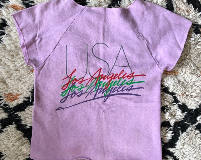 80s Los Angeles USA lilac logo cut off sweatshirt T shirt / vintage 1980s Jansport sz S