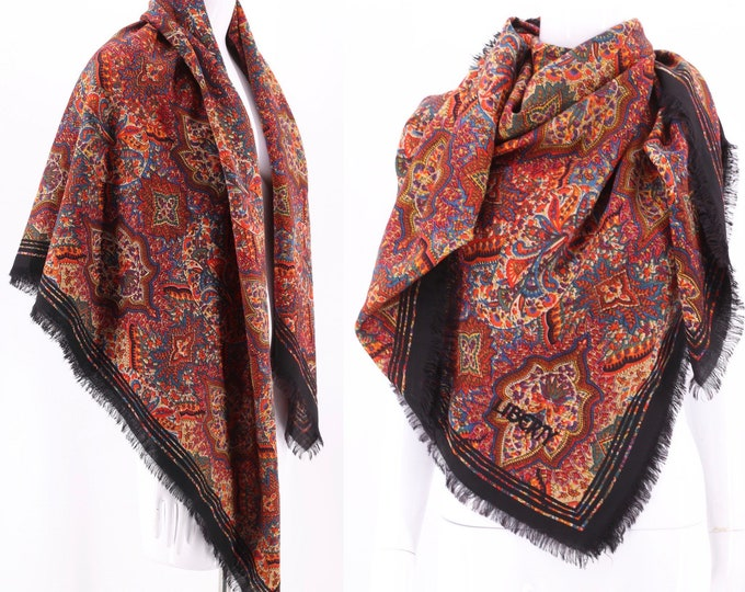 70s LIBERTY huge wool scarf shawl / vintage 1970s Liberty London paisley fringed wrap 52 x 52