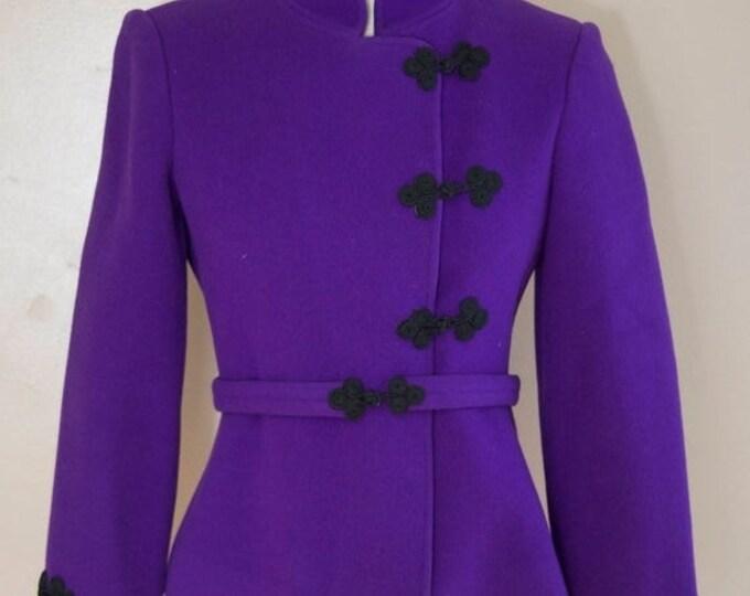 25% OFF 70s DONALD BROOKS deep purple cleanly tailored frog closure blazer w/ sash belt vintage 1970s 4