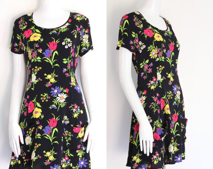 90s BETSEY JOHNSON rayon rose print mini dress sz M / vintage 1990s baby doll rayon dress