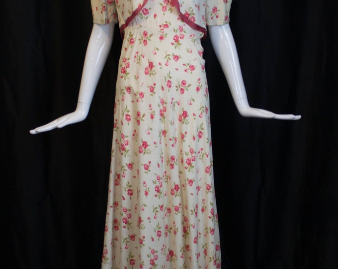 30s GOWN & JACKET novelty rose print rayon summer dress set vintage 1930s small
