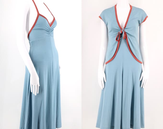 70s disco 2 pc dress set  / vintage 1970s blue & rust poly jersey sexy outfit sz S