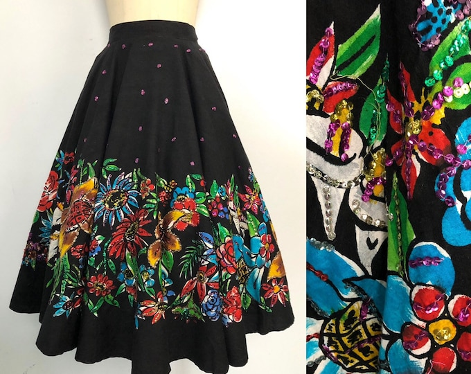 50s MEXICAN floral cotton hand painted and sequin circle SKIRT vintage 1950s L