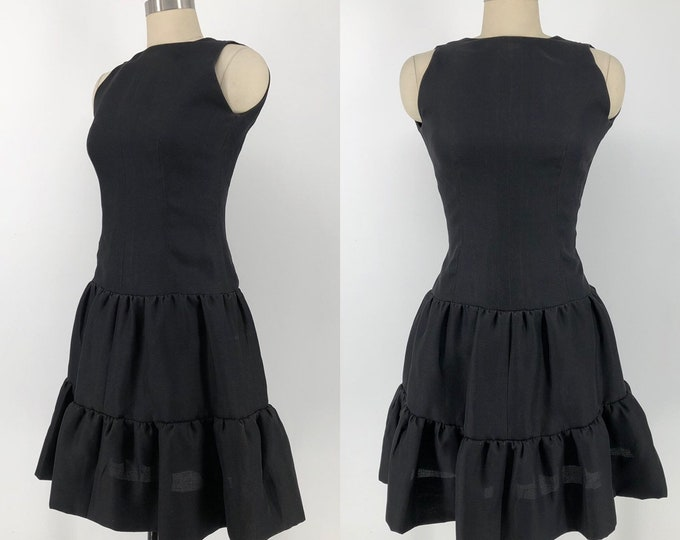 80s GIVENCHY Couture black silk organza tailored tiered cocktail dress 38 8 vintage 1980s