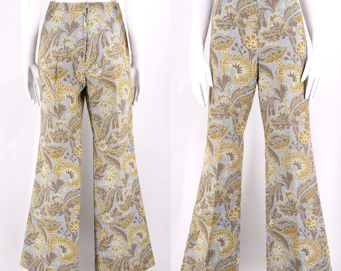 60s TAPESTRY floral bell bottoms pants sz 28 / vintage 1960s Country Set flares sz 8