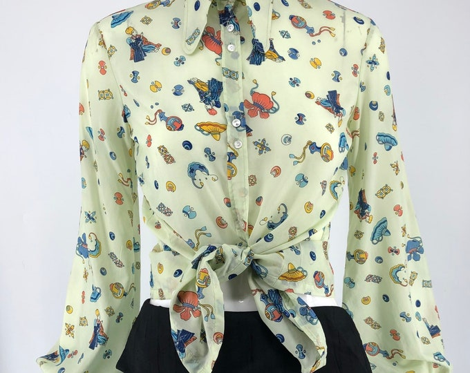 70s Jeff Banks novelty print blouse UK 10 US 8