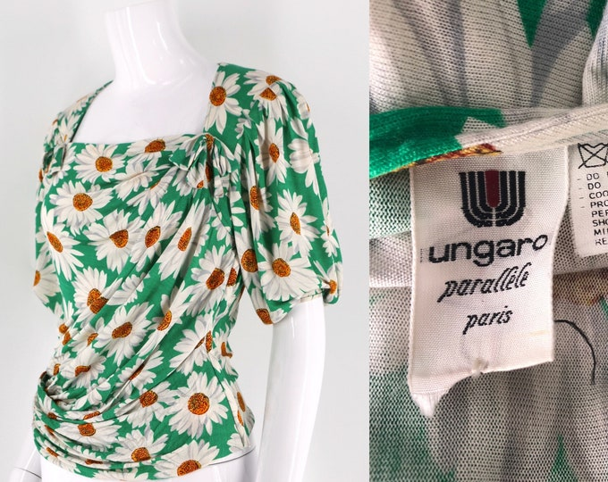 80s UNGARO silk knit daisy print put sleeve blouse / vintage 1980s floral print draped top size 8