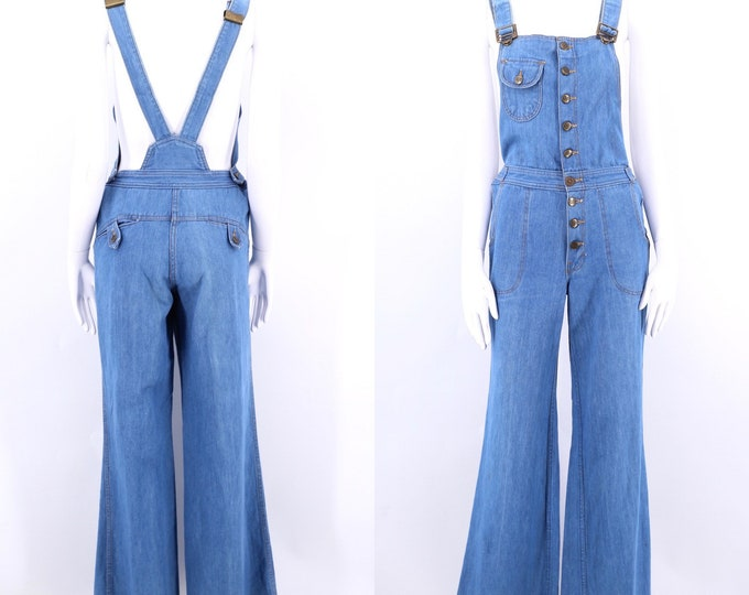70s denim bell bottom overalls / vintage 1970s GRAPEVINES jeans jumpsuit flared bottoms button up front size 30-31