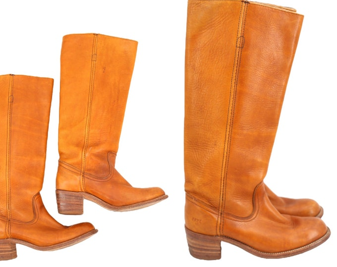 70s FRYE caramel leather campus boots sz 7 / vintage 1970s knee high stack heel brown hippy boots 37