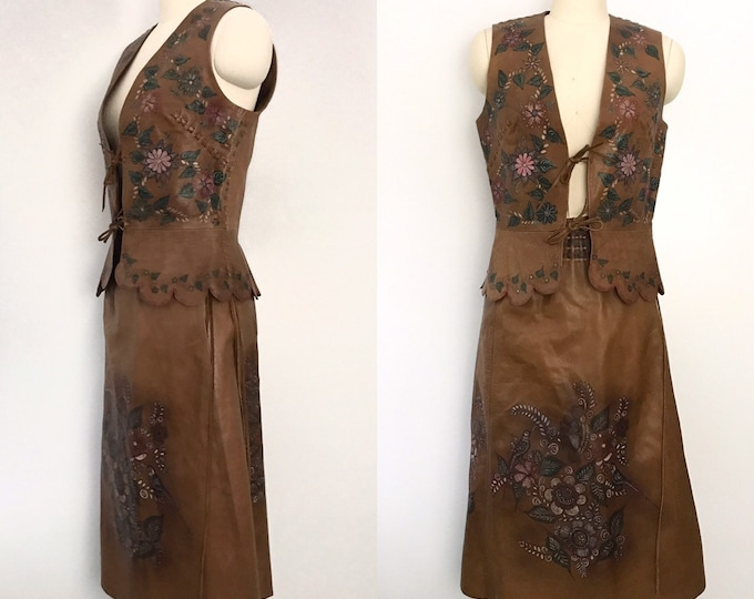 70s CHAR Sant Fe hand painted leather gilet & skirt OUTFIT set 1970s vintage 10