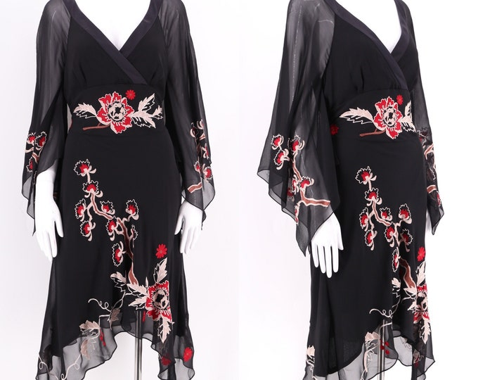 black SUE WONG chiffon dress /  cherry blossom embroidered print silk fluttery dress vintage sz 12 / L