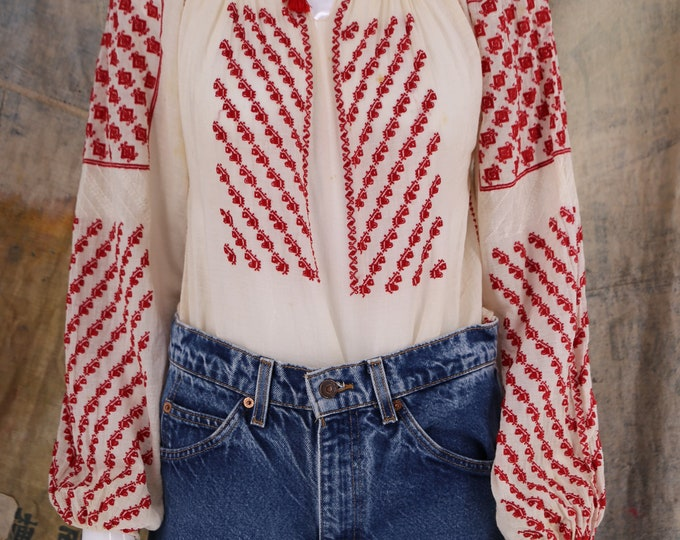40s ROMANIAN cotton gauze red embroidered blouse / vintage 1940s 30s folk peasant top sz L