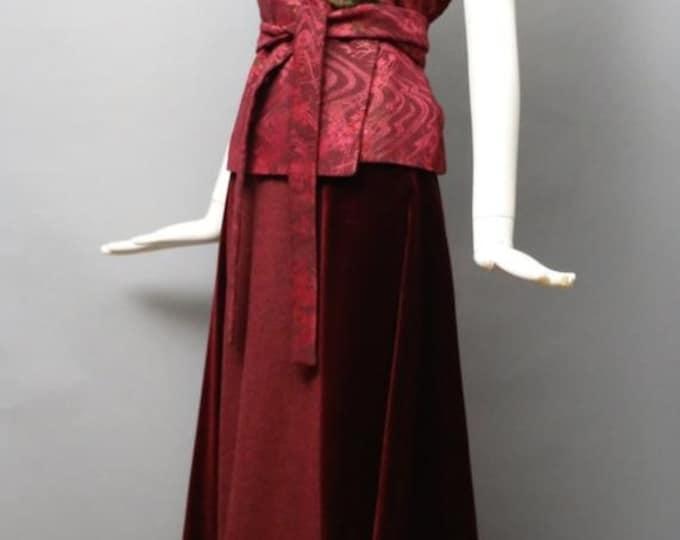 25% OFF 90s KENZO rare brocade kimono wrap evening set w/ top & maxi skirt rare holiday evening dress 42 8 10 vintage 1990s