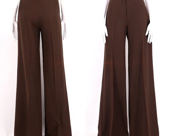 70s French high waist brown wide leg bell bottoms 8 / vintage 1970s wool fitted trousers pants 42 8