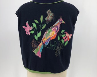 d239dadbff7f 30s BIRD EMBROIDERED navy and sage crepe tie front jacket or top vintage  1930s