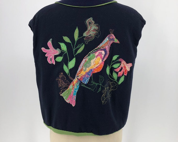 30s BIRD EMBROIDERED navy and sage crepe tie front jacket