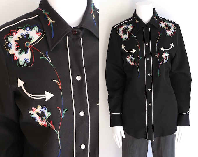 vintage SUSAN ALAMO black cowgirl shirt L / embroidered western snap front blouse sz L Nashville