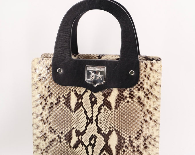 vintage python KIESELSTEIN CORD snakeskin & silver top handle tote bag purse