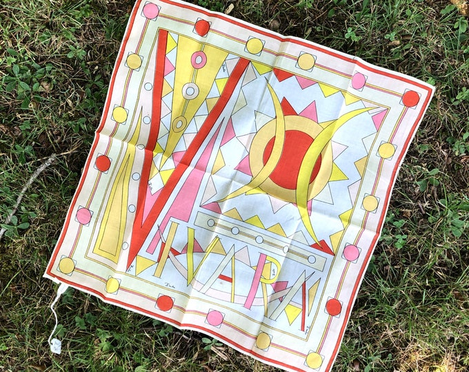 60s EMILIO PUCCI signed psychedelic print cotton scarf / vintage 1960s designer scarf 17 x 17