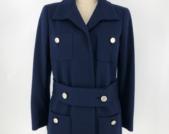 60s Norell navy blue wool jacket with pearl buttons