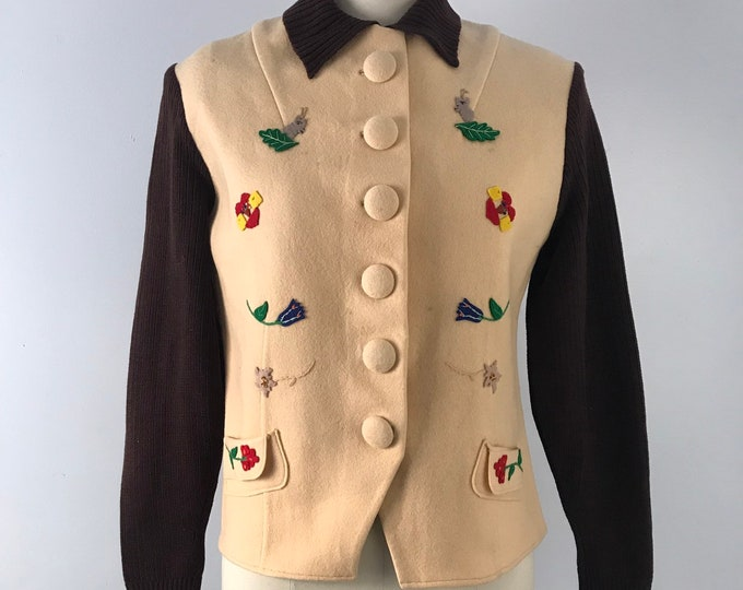 30s PECK & PECK jacket : folk art appliquéd felt with knit sleeves vintage 1930s day wear