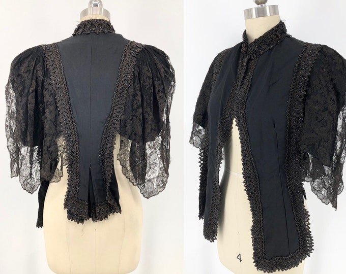 1890s VICTORIAN black silk & lace mantle