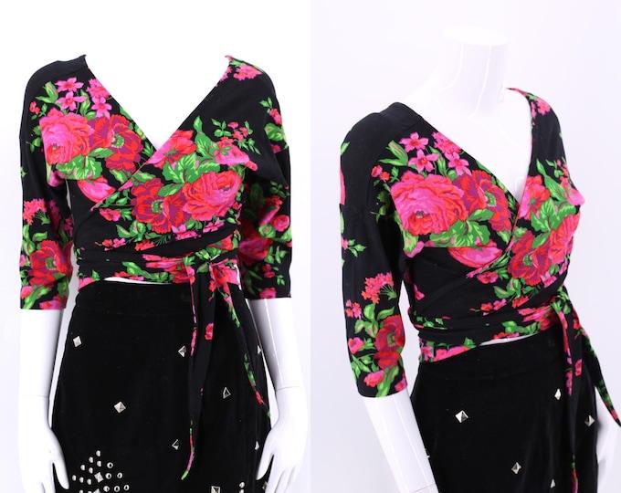 vintage BETSEY JOHNSON punk label rose print wrap top L / fuchsia floral stretch top revival label Large 80s