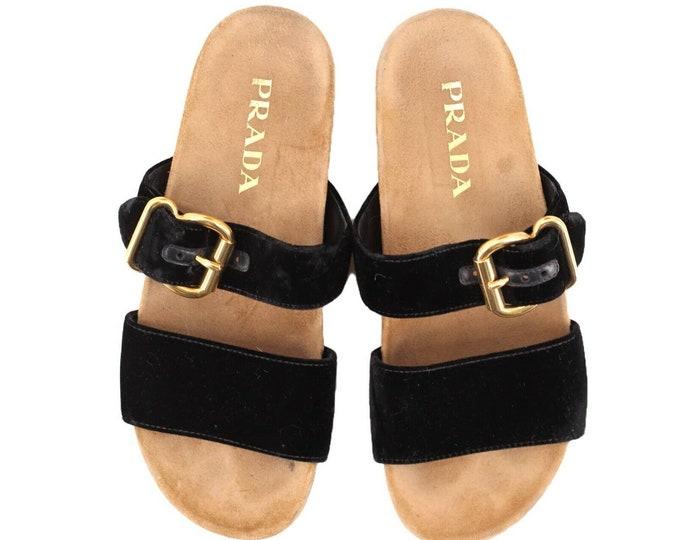 black velvet PRADA Birkenstock style slip on gold buckle sandals shoes 39.5 9.5